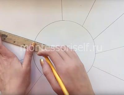 Рисуем круг и лучи