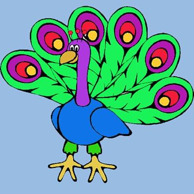 Цветной веселый павлин