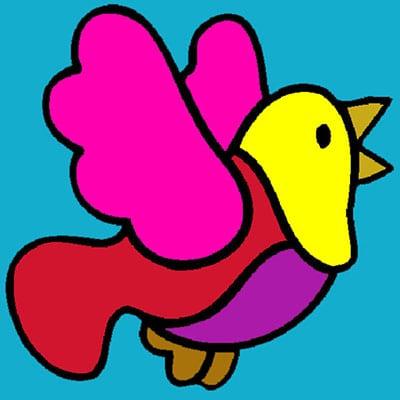 Цветная летящая и поющая птичка