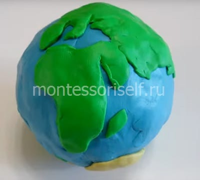 Layout of the earth from plasticine