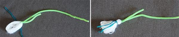 Перевязываем будущий бутон синей ниткой