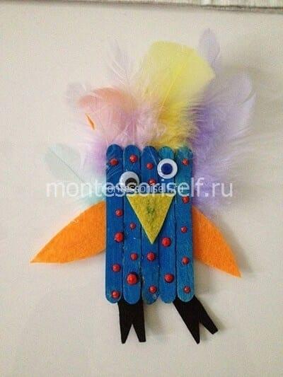 Поделка попугай из палочек