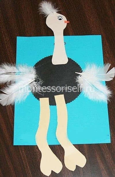 Большой страус с перышками
