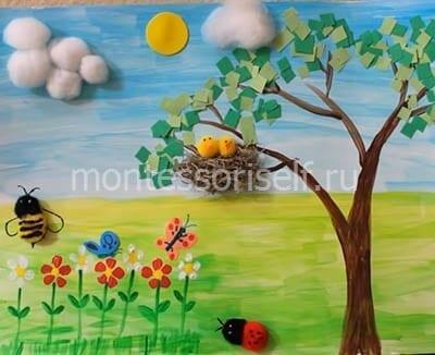Весенний рисунок и аппликация