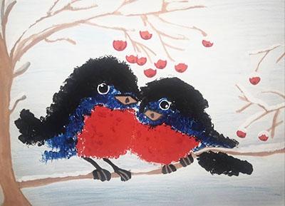 """Рисунок краской """"Снегири"""""""