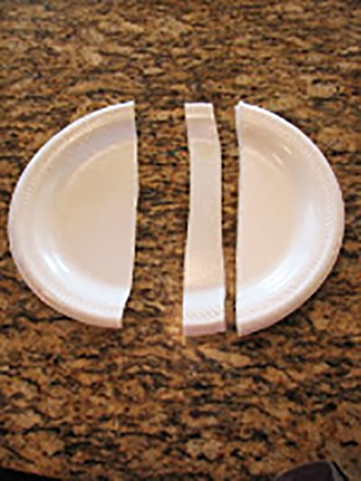 Разрезаем тарелочку