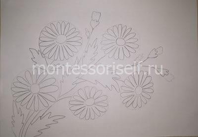 """Рисунок """"ромашки"""" карандашом"""