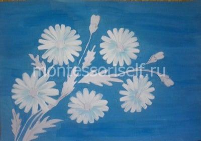 Раскрашиваем цветы белой краской