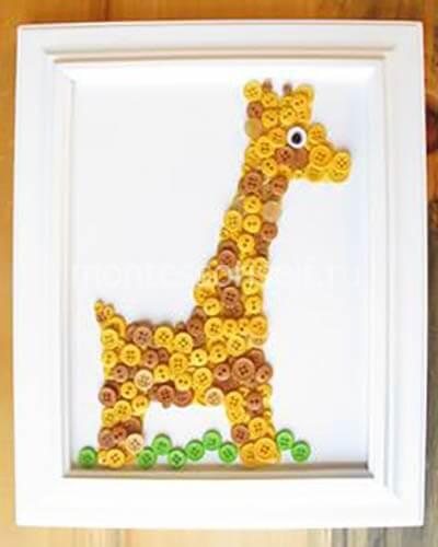 Жираф из пуговиц