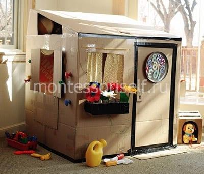Домик для детских игр из коробок