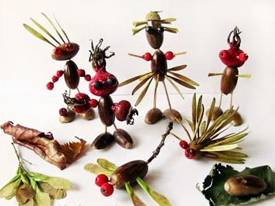 Человечки, животные и насекомые из желудей и природных материалов