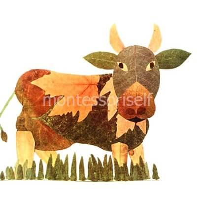 Корова из листьев