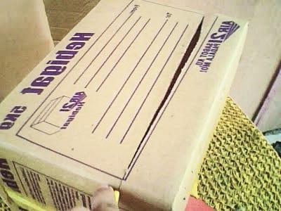 Вырезаем дно у коробки