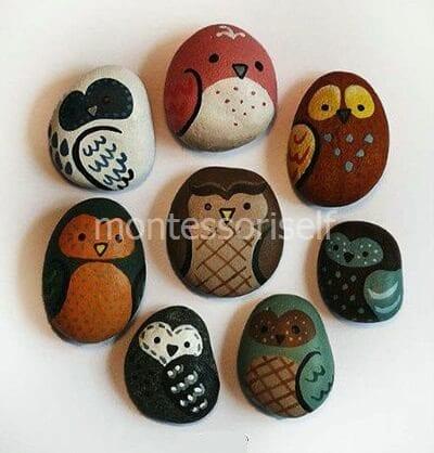Совы из камней