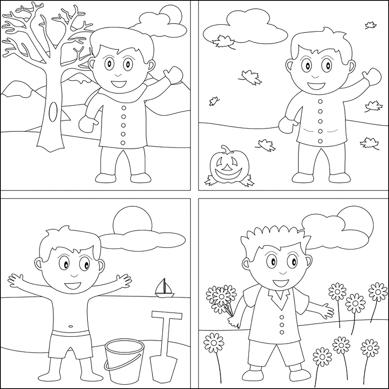 Раскраска мальчик в разные времена года