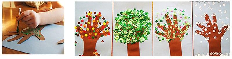 Дерево - рисунок пальчиковыми красками