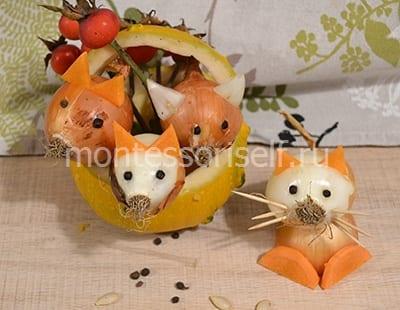 Лисички и котики из лука и морковки