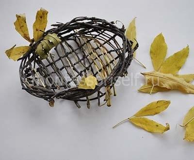 Гнездо из веток и листьев