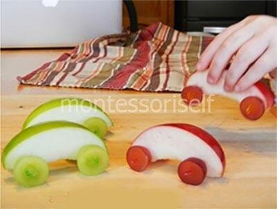Машинки из яблок