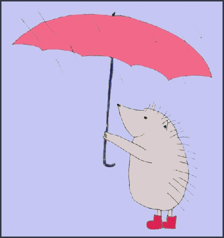 Как можно раскрасить ежика с зонтиком