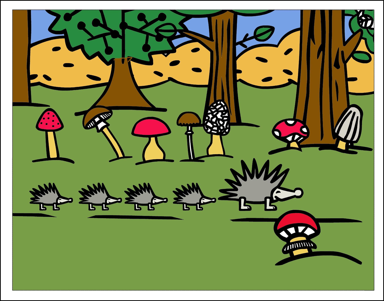 Как можно раскрасить ежиков в лесу