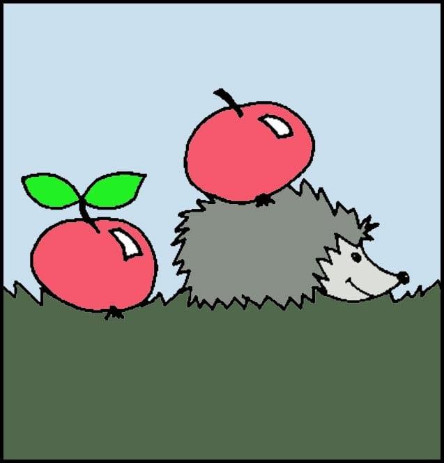 Как можно разрисовать ежика с яблоками