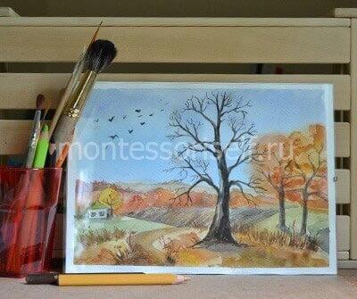 Рисунок поздняя осень