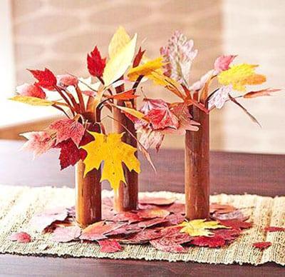 Деревья из листиков и картонных рулонов