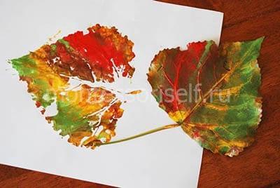 Рисунок березовым листиком