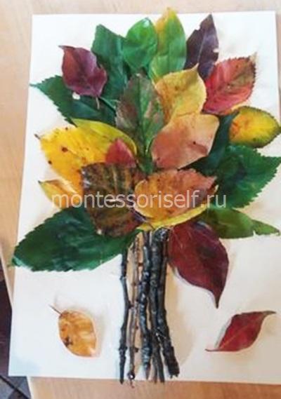 Дерево из листьев и веток