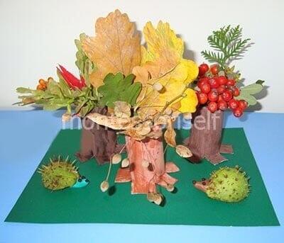 Осенняя композиция из картонных рулонов