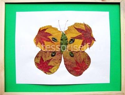 """Осеннее панно из листьев """"Бабочка"""""""