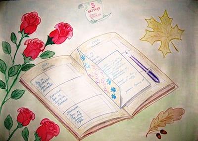 "Осенний рисунок на тему ""Школа"""