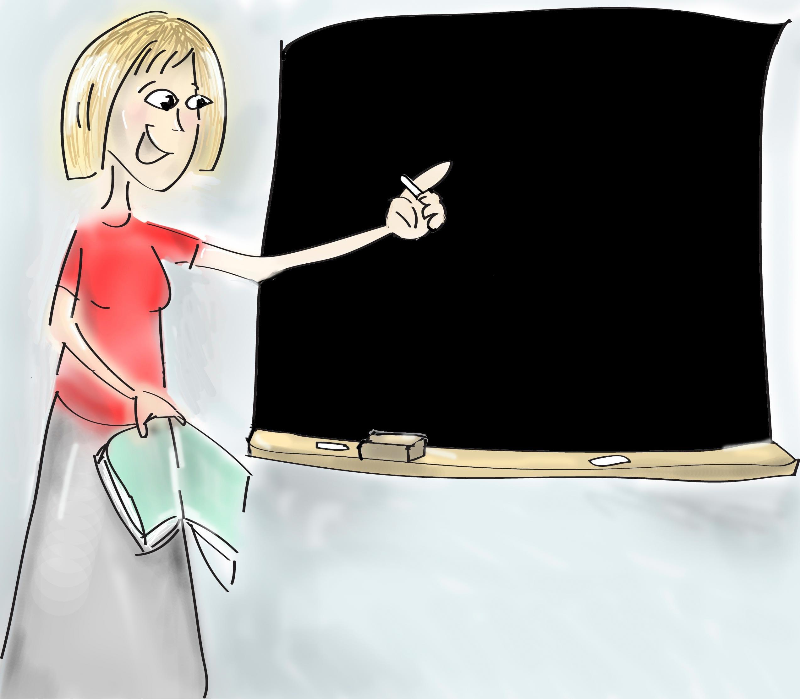 Рисунок учительница пишет на доске