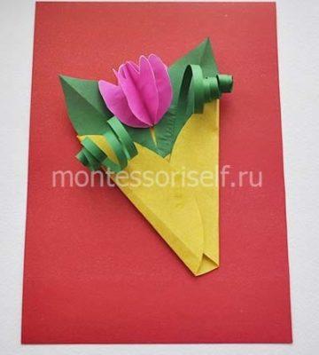 Открытка для мамы с объемным тюльпаном из бумаги