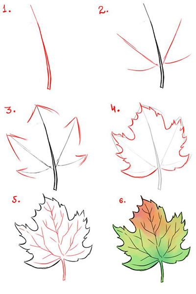Кленовый лист пошагово
