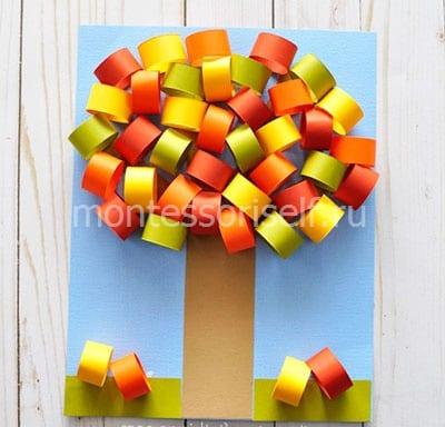 Осеннее дерево из бумажных колечек