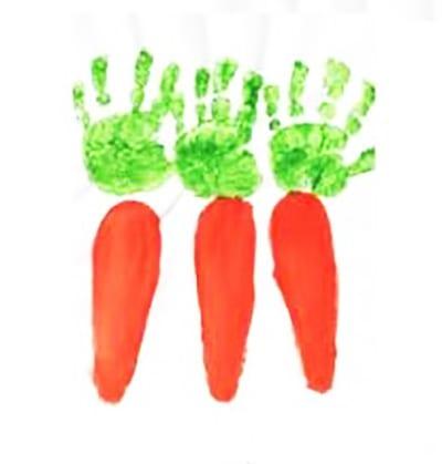 """Рисунок из отпечатков """"Морковка"""""""