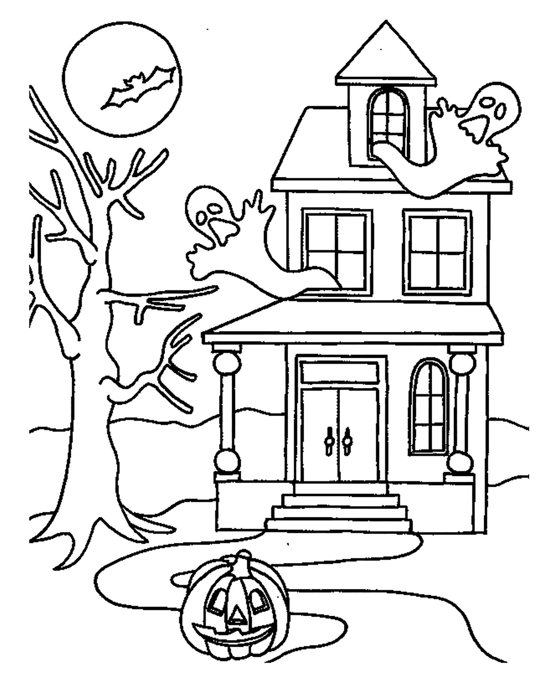 Раскраска дом с призраками