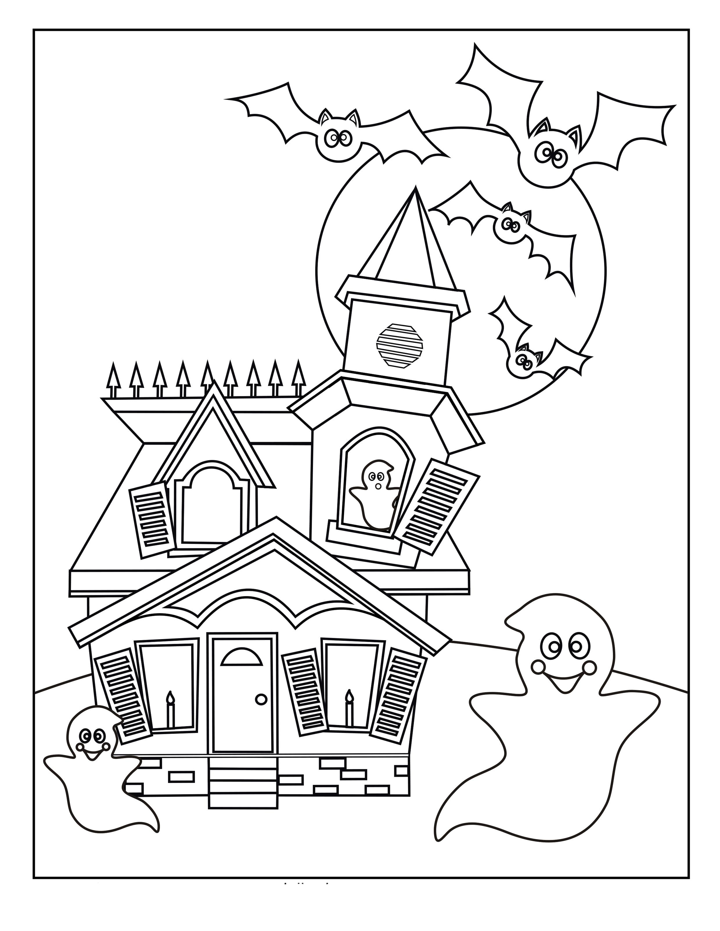 Раскраска Хэллоуин в доме