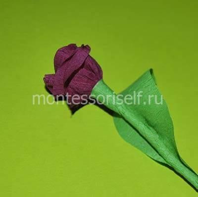 Объемная роза из гофрированной бумаги