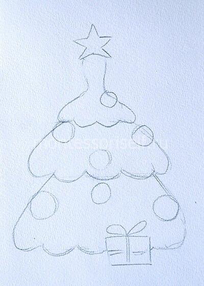 Рисуем шары, звезду и подарок