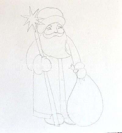 Дед Мороз, нарисованный карандашомДед Мороз, нарисованный карандашом