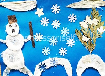 """Аппликация """"снеговик"""" из разных материалов"""