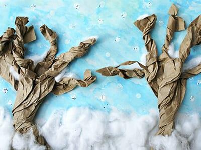Зимний пейзаж из бумаги и ваты