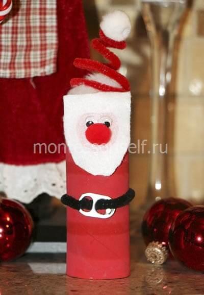 Дед Мороз из картонного рулона