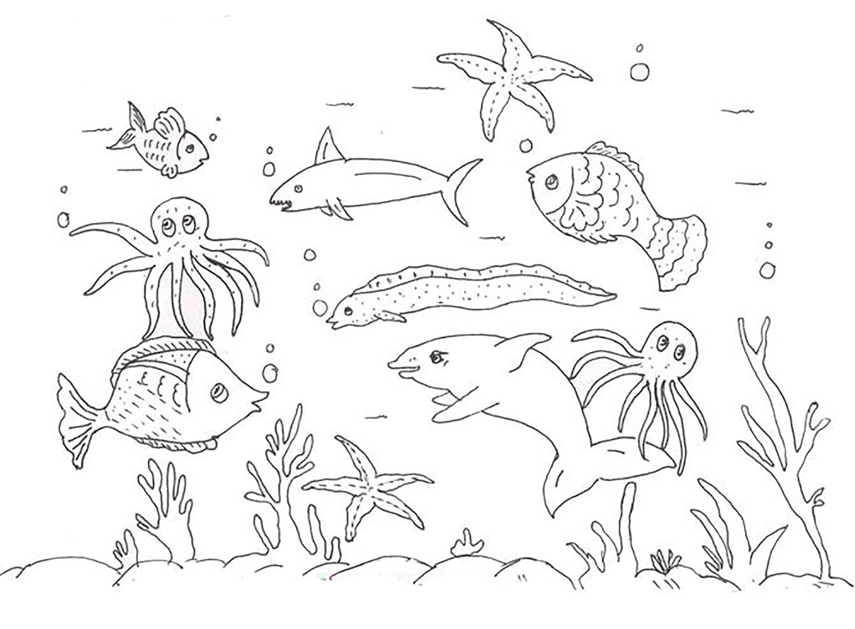 Раскраска на дне моря