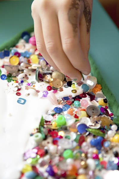 Beads and spangles are easily pasted