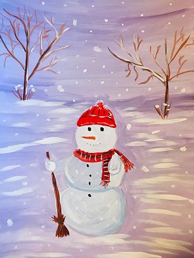 """Рисунок акварелью """"Снеговик с метелкой"""""""
