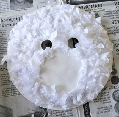 Мордочка медведя из кусочков бумаги